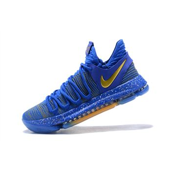 Nike KD 10 Celebration Racer Blue Metallic Gold Mens Basketball Shoes