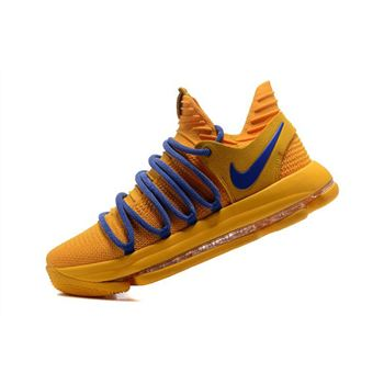 Nike KD 10 Warrior Yellow Blue Basketball Shoes