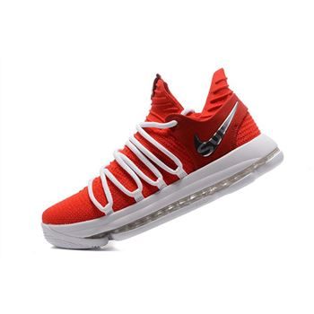 Supreme x Nike KD 10 University Red White Mens Basketball Shoes