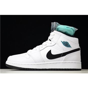 nike shoe with white strings on back on computer Mid GS Hyper Jade White/Black-Hyper Jade 554725-122