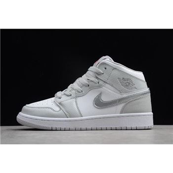 Air Jordan 1 Mid GS Grey Fog/Deadly Pink 555112-012