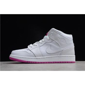 Air Jordan 1 Mid GS White/Fuchsia Blast 555112-100