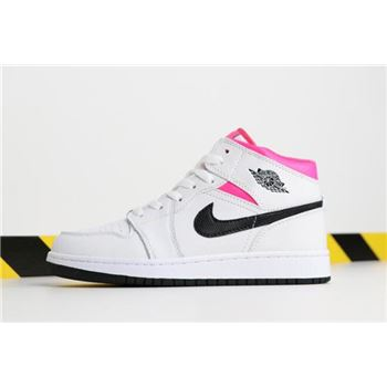 nike shoe with white strings on back on computer Mid GS Hyper Pink White/Black-Hyper Pink 555112-106