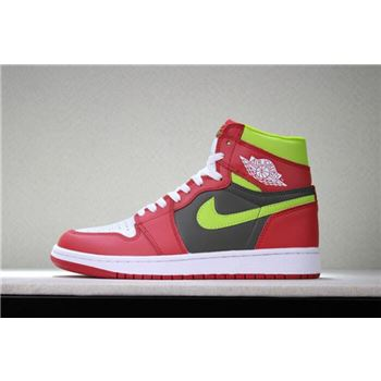 Men's and Women's Air Jordan 1 Retro High OG White/Red/Dark Green 555088-024