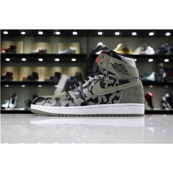 Air Jordan 1 Retro High Premium Shadow Camo Black/Dark Stucco-White AA3993-034