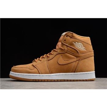 Nike Air Jordan 1 Retro High OG Wheat Khaki Beig White Shoes