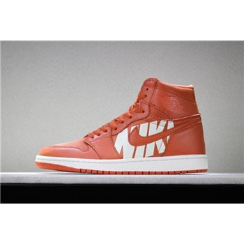 Off-White x Air Jordan 1 Nike Swoosh Orange/White 555088-800