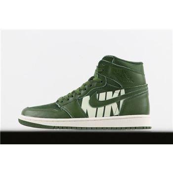 Virgil Abloh's Off-White x Air Jordan 1 Nike Swoosh Olive 555088-300 Free Shipping