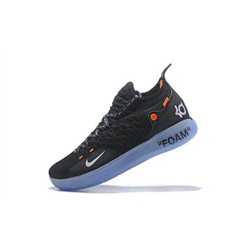 2018 Off-White x Nike KD 11 Black/White-Orange Men's Basketball Shoes