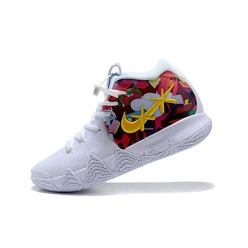 KAWS x Nike Kyrie 4 White/Multi-Color Flower Print Men's Basketball Shoes