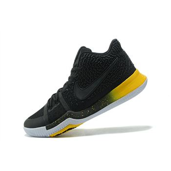 Mens Nike Kyrie 3 Black Yellow Black Varsity Maize White Basketball Shoes