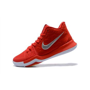 Mens Nike Kyrie 3 University Red Wolf Grey Basketball Shoes