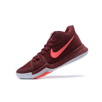 Mens Nike Kyrie 3 Warning Team Red Hot Punch White