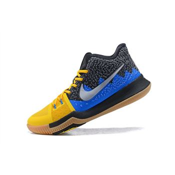 Mens Nike Kyrie 3 What The University Gold Blue Glow Black Basketball Shoes