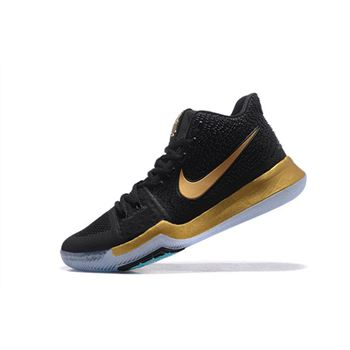 Nike Kyrie 3 Black Metallic Gold Mens Basketball Shoes