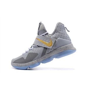Mens Nike LeBron 14 Opening Night Wolf Grey Metallic Gold