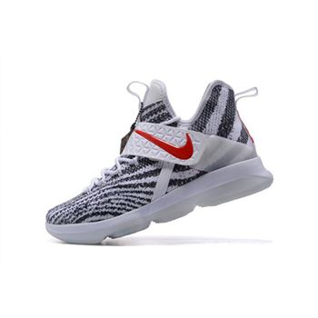 Mens Nike LeBron 14 Zebra Stripes White Black University Red