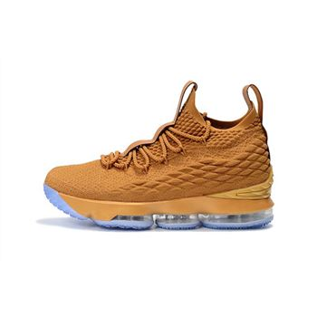 Custom Nike LeBron 15 Metallic Gold Mens Basketball Shoes