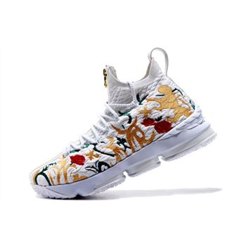 KITH x Nike LeBron 15 Floral White Floral Gold Mens Basketball Shoes