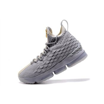 KITH x Nike LeBron 15 Wolf Grey Gold Mens Basketball Shoes