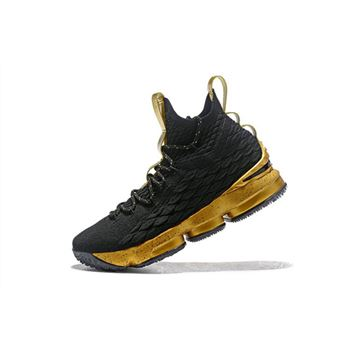 Mens Nike LeBron 15 Black Gold Basketball Shoes