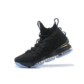 Mens Nike LeBron 15 Black Metallic Gold