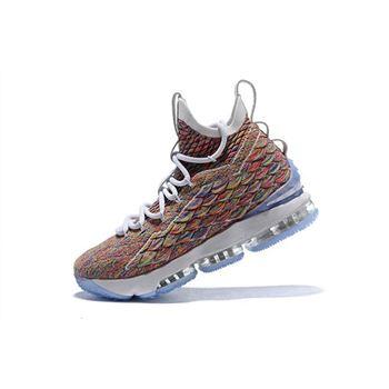Men's Nike LeBron 15 Fruity Pebbles White/Multi-Color 897648-900