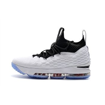 Mens Nike LeBron 15 Graffiti White Black University Red Basketball Shoes