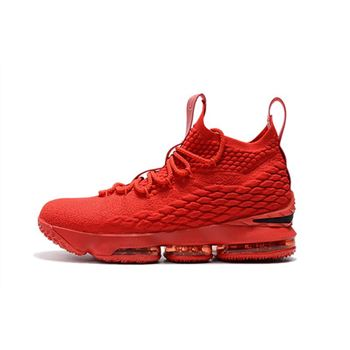 Mens Nike LeBron 15 Ohio State PE all Red Basketball Shoes