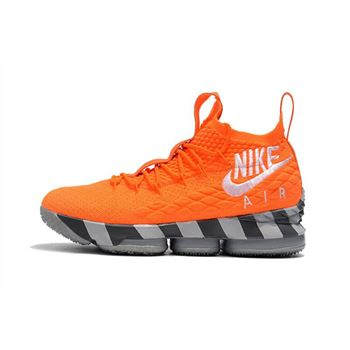 Mens Nike LeBron 15 Orange Box Total Orange White Mine Grey