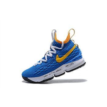 Men's Nike LeBron 15 Waffle Trainer Blue/Yellow Basketball Shoes