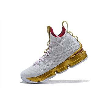 Mens Nike LeBron 15 White Gold Basketball Shoes
