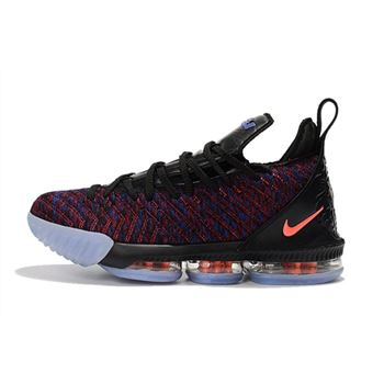 Mens Nike LeBron 16 Black Multicolor Orange Basketball Shoes