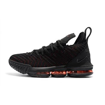 Mens Nike LeBron 16 Bred Black Red Basketball Shoes