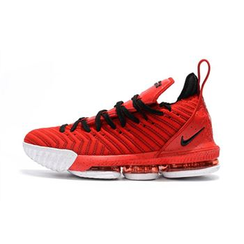 Mens Nike LeBron 16 University Red Black White Shoes