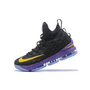 Nike LeBron 15 Black Purple Yellow Mens Basketball Shoes