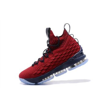 Nike LeBron 15 Burgundy Navy Blue Mens Basketball Shoes