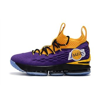 Nike LeBron 15 Lakers Purple Yellow Black Basketball Shoes