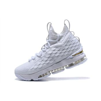 Nike LeBron 15 White Metallic Gold Mens Basketball Shoes