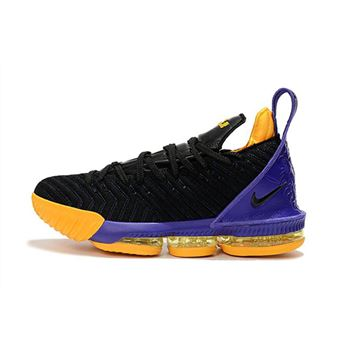 Nike LeBron 16 Black Purple Yellow Basketball Shoes