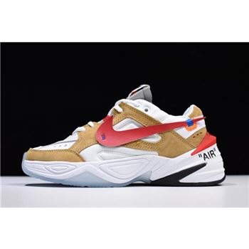 2018 Off-White x Nike M2K Tekno White/Wheat-Red Dad Shoes AO3108-200