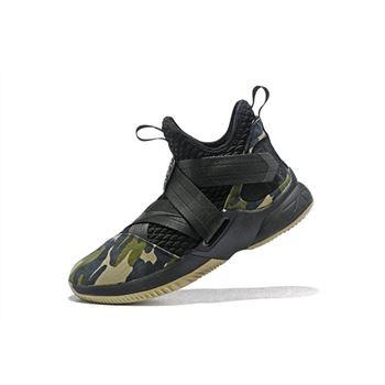 Mens Nike LeBron Soldier 12 SFG Camo Black Black Hazel Rush