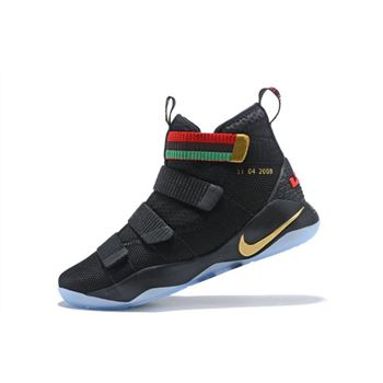 Nike LeBron Soldier 11 BHM Black Green Red Mens Basketball Shoes
