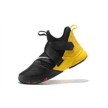 Nike LeBron Soldier 12 Black Yellow Mens Basketball Shoes