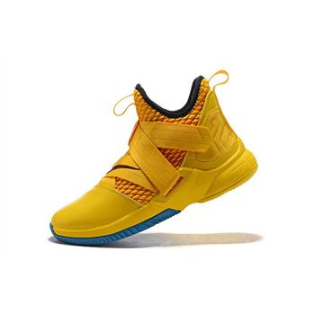 Nike LeBron Soldier 12 Cavs Yellow Black Blue Mens Basketball Shoes