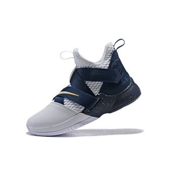 Nike LeBron Soldier 12 XII SFG White Midnight Navy Mineral Yellow Basketball Shoes