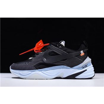 Off-White x Nike M2K Tekno Black/Grey-Light Blue Men's and Women's Size A03108-053