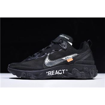 2018 Off White x Nike React Element 87 Black