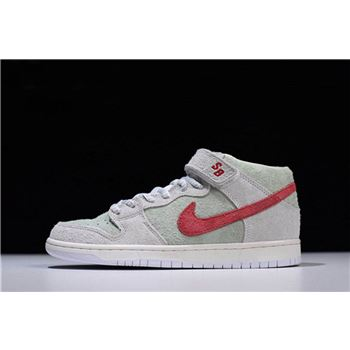 Mens Nike SB Dunk Mid White Widow Sail Gym Red Fresh Mint