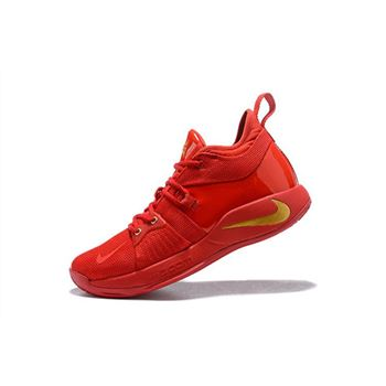 Nike PG 2 Gold Medal Fire Red Gold Mens Basketball Shoes